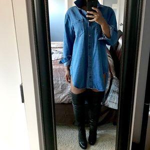 03c09ba674 vibrant m.i.u Dresses - High-Low Denim Shirt Dress!